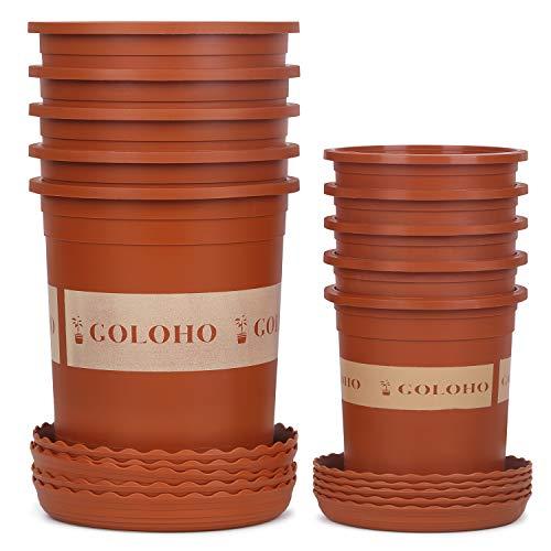 - 10 Set Nursery Plant Pots with Pallets - 5 X 1 Trade Gallon & 5 X 4.5 inch Pots