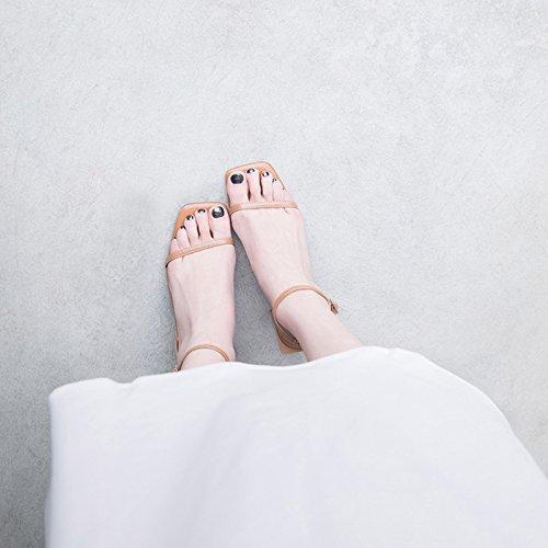 Sandali Di Femminile Dei Pecora Pelle Scarpe Semplice Quadrata Della Testa Delle Jianxin Parola Leggiadramente L'estate qgRnt