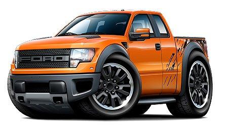Ford Raptor F150 Pickup Truck F 150 4x4 Car Toon No