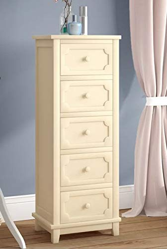 Amazon Com Chester Drawers Off White Wood Five Drawer With Knob