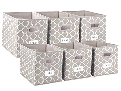 (Foldable Cloth Storage Bins Cubes, Fabric Boxes Baskets for Cube Organizer for Closet,Home,Office, Bedroom with Plastic Handles Set of 6 Light Coffee with White Lantern Printinf Large 12x12x12in)
