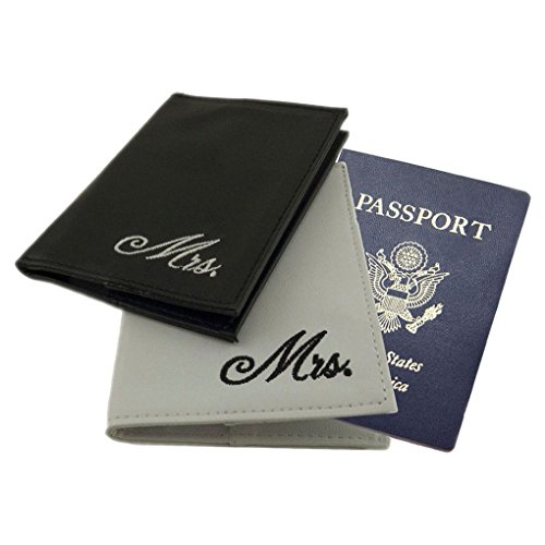 Mememall Fashion Black White Mr. Mrs. Passport Cover Wedding Marriage Gay Lesbian Straight Set 2 ()