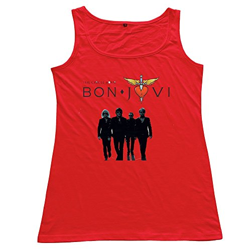 Crystal Women's Bon Jovi Slim Fit Design Tank Top Red US Size S
