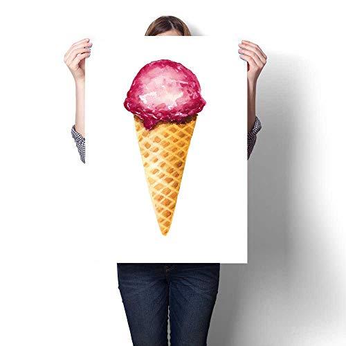 Anshesix Art-Canvas Prints Watercolor Fruit ice Cream Isolat