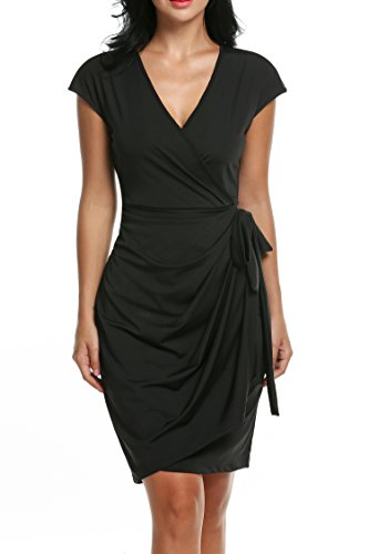 Women's Classic Cap Sleeve V-Neck Draped Tie-Belt Cocktail Wrap Dress Black Small