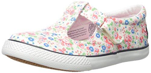 Polo Ralph Lauren Kids Tabby Strap WH Min FLR CVS NY T-Strap Sneaker (Toddler/Little Kid), White Floral, 1.5 M US Little Kid