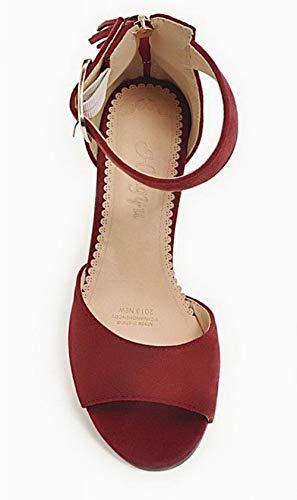 AgooLar Houppe Dépolissement GMBLB015735 Correct Sandales Femme Rouge Talon Zip à rwqnxfrOBg