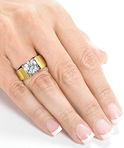 Kobelli Cushion Solitaire Moissanite Extra Wide Engagement Ring 2 CTW 14k Yellow Gold