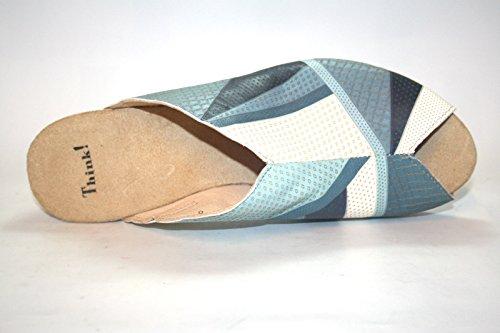 Think! - Zuecos de cuero para mujer - Blau (alu/kombi 17)