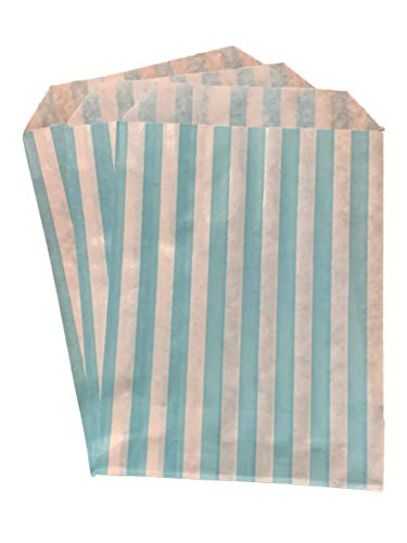 Packitsafe 100 x Aqua Blue Candy Bags 5×7 Inch, Paper Stripped Stripe Bag, Party Sweets Bags