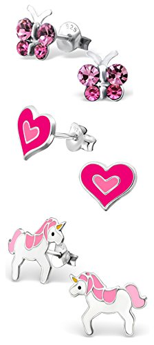 Best Wing Jewelry .925 Sterling Silver Pink Butterfly Crystal, Heart, Unicorn Set Stud Earrings for Children and Teens (3 Pairs) by Best Wing Children's Earrings (Image #2)