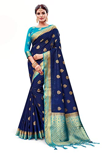 (ELINA FASHION Sarees for Women Banarasi Art Silk Woven Work Saree l Indian Wedding Traditional Wear Sari and Blouse Piece (Navy Blue 2))