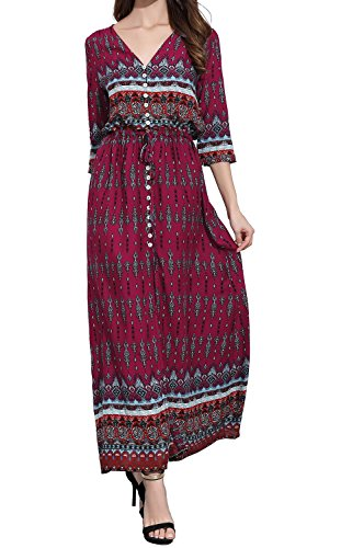 Dresses Print Maxi Floral Sundress Maroon CHERRY Women's CAT qWFtXt