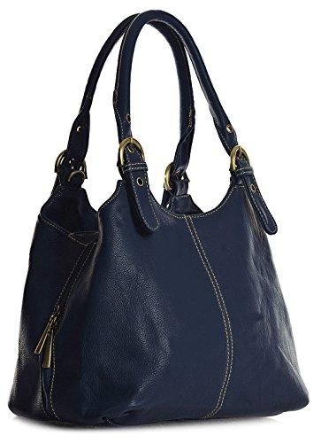 donna Shop mano Blu a Marine Big Kontrastfarbigen Nähten Borsa Handbag 5qwngX
