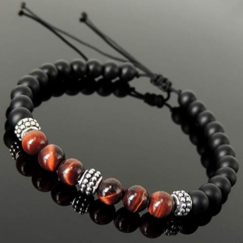 Vintage Handmade Braided Mixed Gemstone Bracelet for Men's Women's Casual Wear, Healing with Red Tiger Eye, Matte Black Onyx Adjustable Drawstring, Genuine 925 Sterling Silver Charm Beads