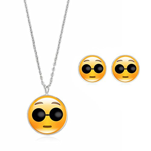 Emoji Necklace, Botrong Cute Emoji Art Picture Pendant Statement Chain Necklace Stud Earrings Jewelry Set (F)