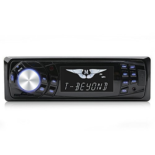 Single Din Car Audio CD MP3 Stereo Radio Player, Front Aux Input Car Audio Speaker (Black) FM Radio Bluetooth12V High Power...
