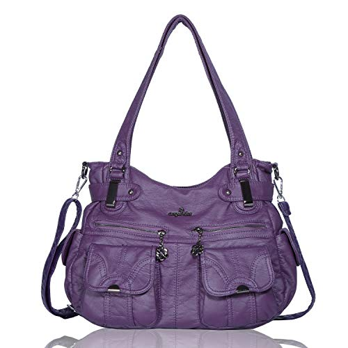 Angelkiss Women's Designer Handbag Large Double Zipper Multi Pocket Washed, Purple