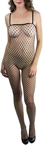 (ToBeInStyle Women's Spandex Mini Diamond Net Crotchless Bodystocking -)