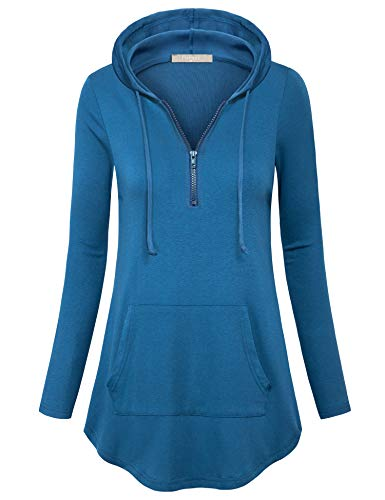 - Furnex Tunic Sweatshirts for Women, Long Sleeve Shirts Flattering Novelty Hoodies Casual Soft Knit Hooded Tunic Tops to Wear with Leggings (XX-Large,Dark Cyan)