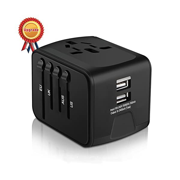 Universal Travel Adapter, HAOZI All-in-one International Power Adapter with 2.4A USB, European Adapter Travel Power Adapter Wall Charger for UK, EU, AU, Asia Covers 150+Countries