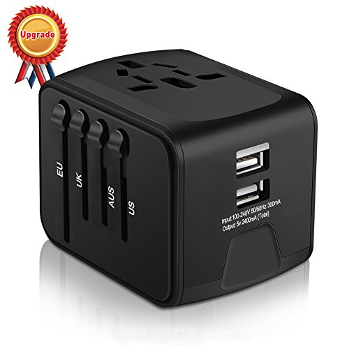 Universal Travel Adapter, Iron-M All-in-one International Power Adapter with 2.4A Dual USB, Europe Adapter Travel Power Adapter Wall Charger for UK, EU, AU, Asia Covers 150+Countries (Black)