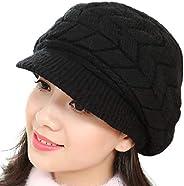 HAIMEIKANG Women Winter Hat Warm Knit Hat - Double Layer Slouchy Beret Beanie Hat Crochet Outdoor Cap Snow Ski