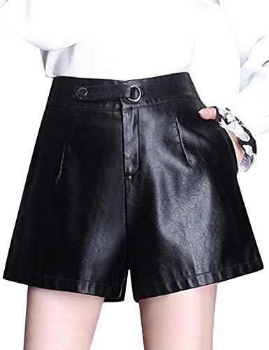 (Tanming Women's Sexy Elastic High Waist Ruffled Faux Leather PU Short (Black, Large))