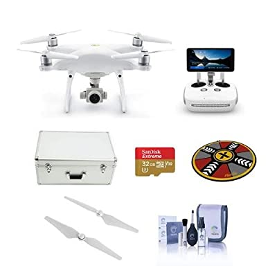 DJI Phantom 4 Pro+ V2.0 Quadcopter Drone with 5.5in FHD Screen Remote Controller - Bundle with 32GB MicroSDHC U3 Card, Aluminum Case, Quick-Release Propellers, Drone Landing Pad, Cleaning Kit
