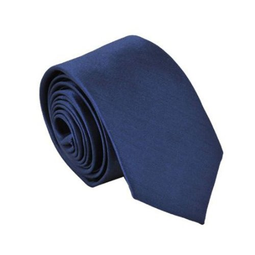 Gleader Polyester Narrow Neck Tie Skinny Solid Dark Blue Thin Necktie for Men (2