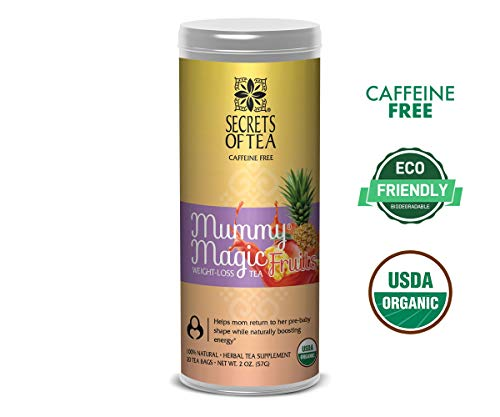 Mummy Magic Weight Loss Organic Tea, Friut Flavor, Postpartum Energy, 20 Unbleached Tea Bags 40 Servings, Naturally Increase Metabolism, Improves Energy and Digestion. Available in 5 Flavors