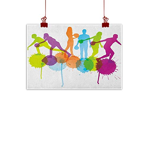warmfamily Art Poster Print Bowling Party,Player Silhouettes Throwing Ball with Big Color Splatters Activity Fun Theme, Multicolor 28