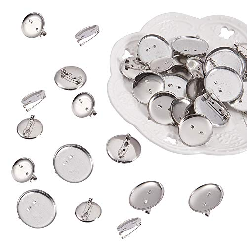 PandaHall Elite About 150 Pcs Iron Brooch Clasps Pin Disk Base Pad Bezel Blank Cabochon Trays Backs Bar Diameter 20mm 25mm 29mm for Badge, Corsage, Name Tags and Jewelry Craft Making Platinum