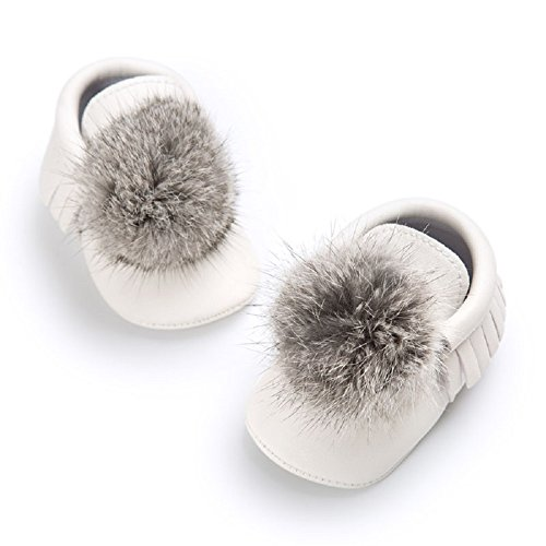 (Soft Baby Shoes - White Leather Baby Moccasins with Fur Pom Poms, baby booties, infant first walker shoes (2))
