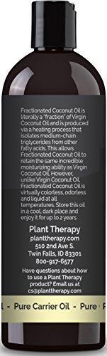Plant Therapy Fractionated Coconut Oil, Carrier Oil + PUMP. A Base Oil for Aromatherapy, Essential Oil or Massage use. 16 Ounce.