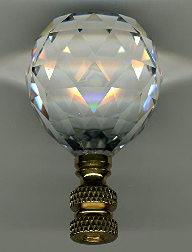 LAMP FINIAL-STUNNING LEADED CRYSTAL LAMP FINIAL-BRASS BASE ()