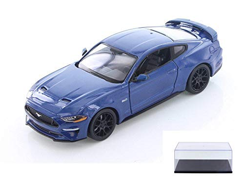 Showcasts Diecast Car & Display Case Package - 2018 Ford Mustang GT Hard Top, Blue 79352BU - 1/24 Scale Diecast Model Toy Car w/Display ()