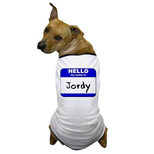CafePress Hello My Name is Jordy Dog T Shirt Dog T-Shirt, Pet Clothing, Funny Dog Costume