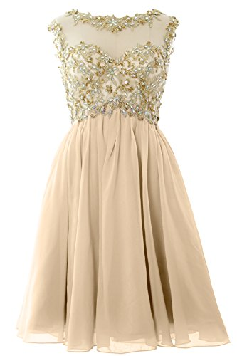 Prom Ball Sleeve Chiffon Women MACloth Lace Champagner Gown Gold Short Dress Cap Homecoming O0xwaxCfq