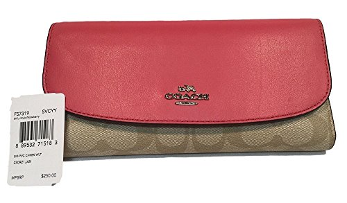 Coach Womens Signature Leather-Trim Checkbook by Coach