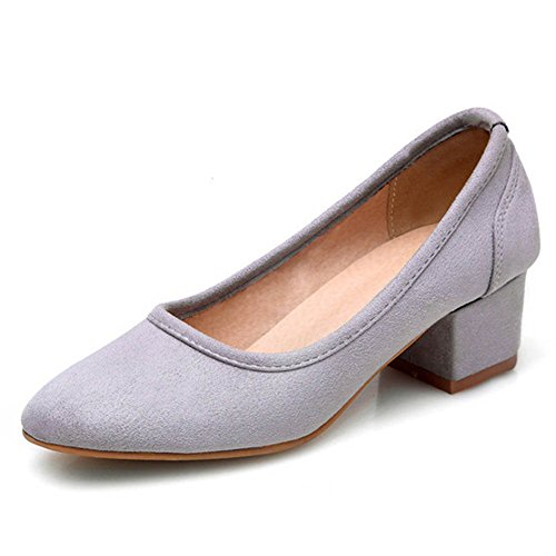 CHFSO Womens Antiskid Square Toe Solid Mid Chunky Heel Plus Pumps Shoes Gray P9UnO9P7