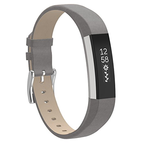 Henoda for Fitbit Alta Bands Leather and Fitbit Alta HR Strap Style for Men Grey