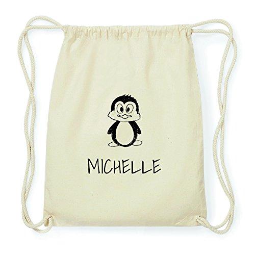 JOllipets MICHELLE Hipster Turnbeutel Tasche Rucksack aus Baumwolle Design: Pinguin