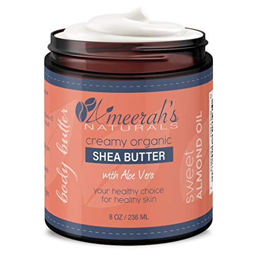 Organic Shea Body Butter & Sweet Almond Oil with Aloe Vera & Vitamin E | Moisturizing Body Cream 8 oz