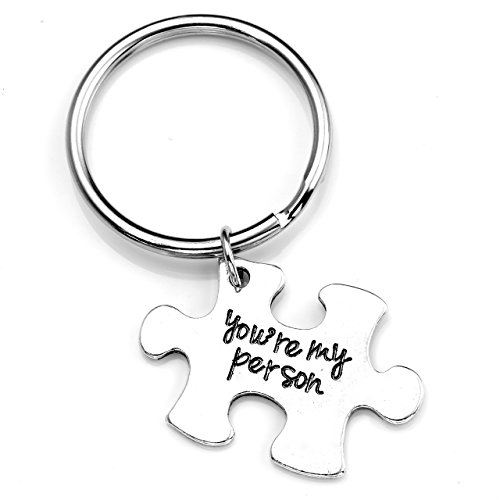 JOVIVI 2pc You're My Person Puzzle Alloy Keychain Jewelry Set - Valentines Day Best Friend Gift