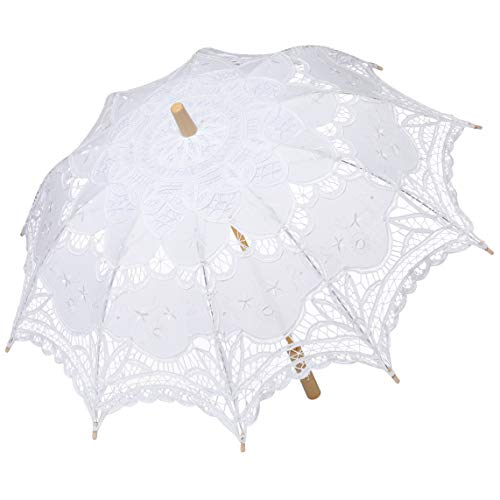 BABEYOND Lace Umbrella Parasol Vintage Wedding Bridal Umbrella for Decoration Photo Lady Costume 1920s Party (White) ()