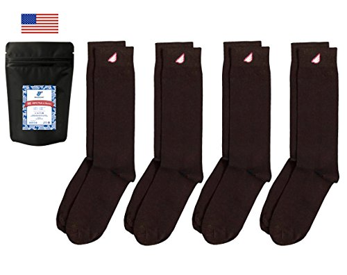 Boldfoot Socks - Mens Cotton Premium Quality Solid Color Dress Socks Gift 4-Pack, Made in America (Brown, XL)
