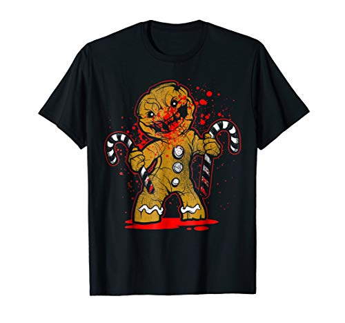 Mens Scary Zombie Gingerbread Man T-shirt 3XL Black -
