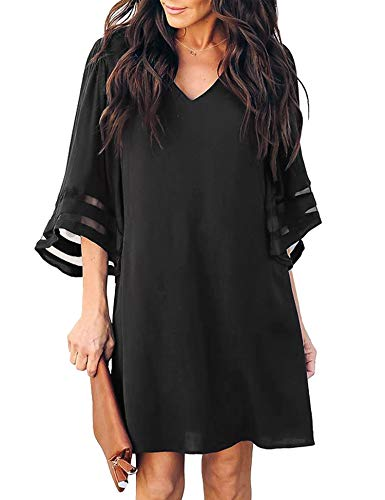 MIJIRUSHI Womens Dress Cute V-Neck Bell Sleeve Casual Summer Shift Dress Mini Tunic Dress, Black, L