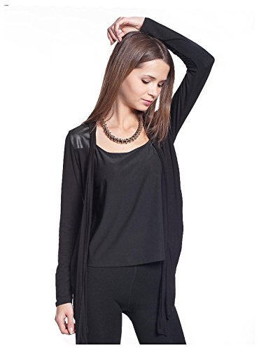 G2 Chic Women's Embellished Edgy Open Cardigan with Long Sleeves(TOP-CGN,BLKA2-L)